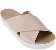 As Is H by Halston Leather Criss-Cross Platform Sandals - Rosie - A285499