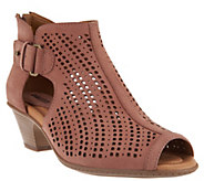 Earth Nubuck Perforated Peep-toe Booties - Keri - A286799