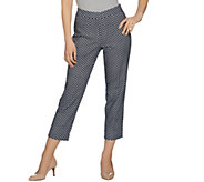 Susan Graver Printed Stretch Woven Slim Leg Zip Front Crop Pants - A287699