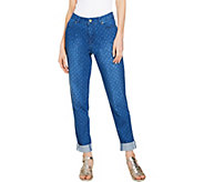 Isaac Mizrahi Live! TRUE DENIM Regular Polka Dot Boyfriend Jeans - A289599
