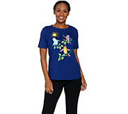 Bob Mackies Short Sleeve Embroidered Knit Top - A290699