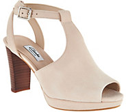 Clarks Narrative Leather T-Strap Heeled Sandals - Kendra Charm - A290899