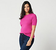 Isaac Mizrahi Live! Essentials Elbow Sleeve Crew Neck Top - A300899