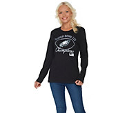 NFL Super Bowl LII Womens Eagles Long Sleeve Bling T-Shirt - A310899