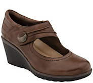 Earth Leather Wedge Mary Janes - Heron - A338099