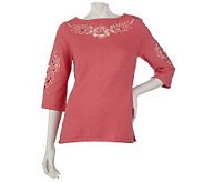 Bob Mackies Floral Cut-out Embroidered Metallic Tunic Sweater - A53599