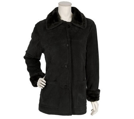Dennis Basso Fully Lined Faux Shearling & Suede Jacket