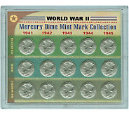 World War II Silver Mercury Dime Mint Mark Collection - C212907