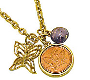 Goldtone Butterfly Coin and Charm Pendant - C213707