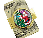 Goldtone Money Clip with Colorized JFK Half Dollar Santa Coin - C214207