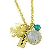 Goldtone Rabbit Coin and Lucky Tag Pendant - C213709