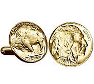 Gold-Layered Buffalo Nickel Cuff Links - C213721
