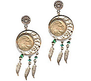 Dream Catcher Buffalo Nickel Post Earrings - C213727