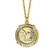 Gold-Layered Hummingbird Coin Pendant - C213729