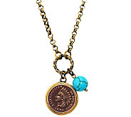 Indian Head Cent w/ Genuine Turquoise Bead Coppertone Pendant - C213735
