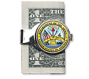 Silvertone Money Clip w/ Colorized Army JFK Half Dollar - C211639