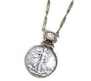 Silver Walking Liberty Half-Dollar in Silvertone Bezel - C212839