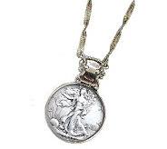 Silver Walking Liberty Half-Dollar in Silvertone Bezel - C212839