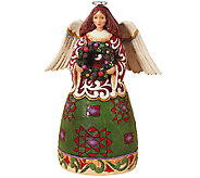 Jim Shore Heartwood Creek Christmas Angel wit hWreath - C213941