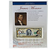 US Presidents Colorized $2 Bill Series Monroe - C27842