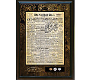 Personalized New York Times Framed Front Page a nd U.S. Coins - C214043