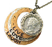 Silver Mercury Dime Circle Pendant Live/Love/Laugh 24 Chain - C212847