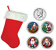 Santa Coin Collection in Christmas Stocking - C214155