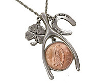 Lucky Irish Penny Silvertone Wishbone Pendant - C212873