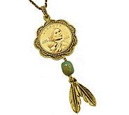 Sacagawea Brass and Turquoise Pendant - C212875