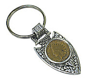 Indian Cent in Silvertone Arrowhead Keyring - C213379