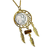 Buffalo Nickel Dream Catcher Pendant w/ Tigers-Eye & 24Chain - C213681