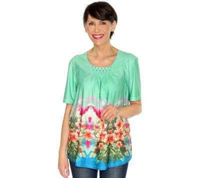 IN-PRINT Shirt 1/2-Arm Bordürendruck Perlenstickerei Biesen