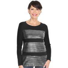 DENIM & CO. Shirt, 1/1-Arm Rundhalsausschnitt Silber-Streifen bedruckt