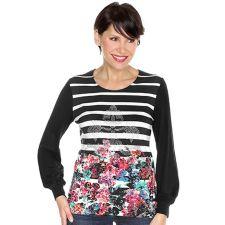 DENIM & CO. Shirt Bündchen Streifen & Blüten Ziersteine