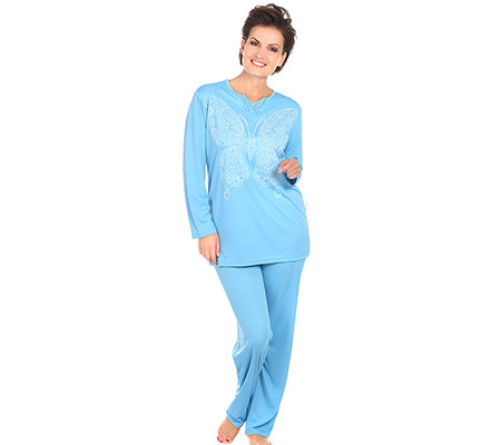 LITTLE ROSE MF Jersey Interlock Pyjama, 1/1-Arm Schmetterlings-Druck mit Strass