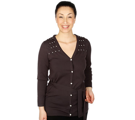 VIA MILANO Cardigan 1/1 Arm Rautendekor Strass-Applikation inkl. Bindeband