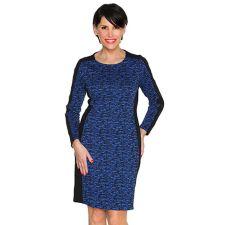 VIA MILANO Kleid, 1/1-Arm Rundhalsausschnitt Kontrast-Einsatz in Kontrastfarben