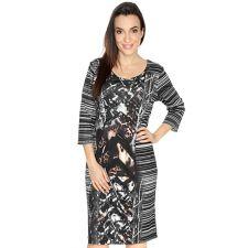 VIA MILANO Kleid 3/4-Arm Rundhalsausschnitt Digital-Druck
