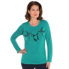 DENIM & CO. Shirt 1/1 Arm Rundhalsausschnitt Flockprint