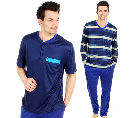 MEN'S TOUCH MF Jersey Interlock Pyjama, Set 3tlg. 2x Shirt 1x Hose