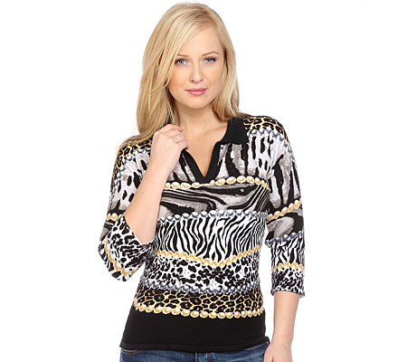 ART & COLOUR Pullover, 3/4-Arm Polokragen Animaldruck Perlenstickerei