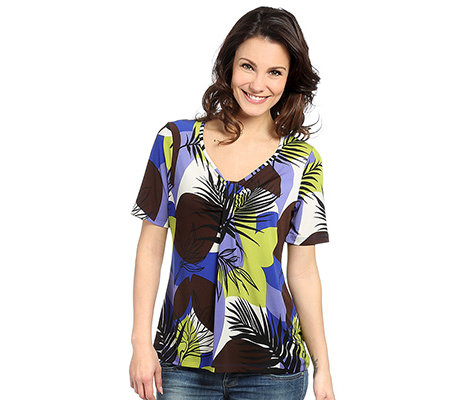 KIM & CO. Brazil-Knit-Jersey Shirt, 1/2-Arm Zierraffung Grafik-Druck