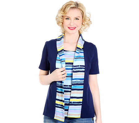 DENIM & CO. 2 in 1 Shirt, 1/2-Arm Rundhalsausschnitt Schalkragen Streifen-Optik