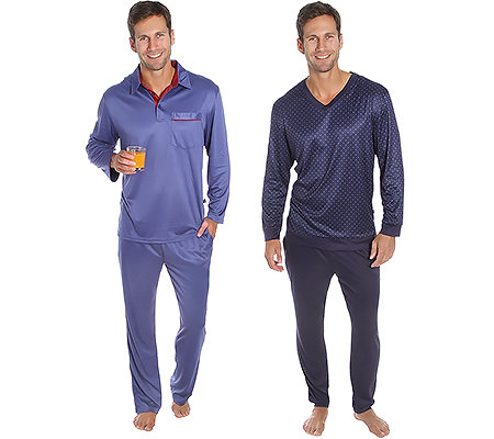 MEN'S TOUCH MF Jersey Interlock Pyjama Doppelpack 1x Krawattendesign 1x uni