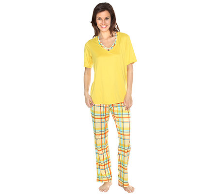 JERYMOOD HOMEWEAR MF Jersey Interlock Pyjama, 1/2-Arm 2 in 1-Optik Karo-Druck
