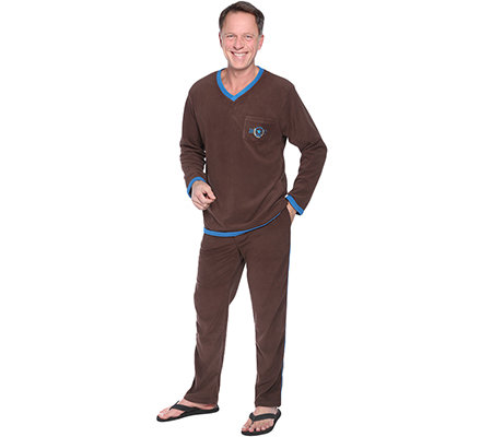 MEN'S TOUCH Flanell Fleece Pyjama, 1/1-Arm V-Ausschnitt Brusttasche