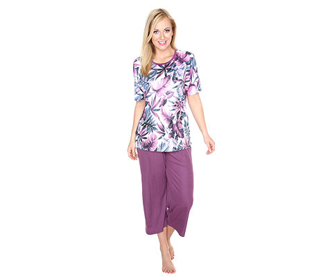 LITTLE ROSE Mikrofaser Pyjama, 1/2-Arm Strassdetail Blumen-Druck