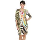 FASHION ART Strickkleid V-Ausschnitt Tropical-Animal handbemalt