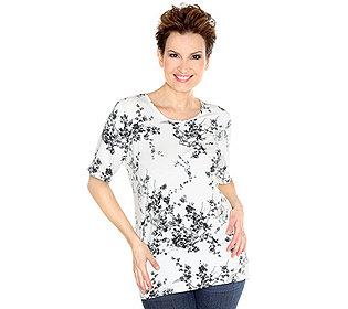 Shirt Blüten-Vogel-Druck