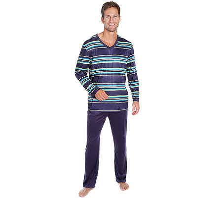 MEN'S TOUCH MF Jersey Interlock Pyjama, 1/1-Arm V-Ausschnitt Streifendruck